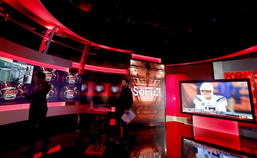 NFL Red Zone host Andrew Siciliano on set at NFL Network studios in Culver City, Calif.