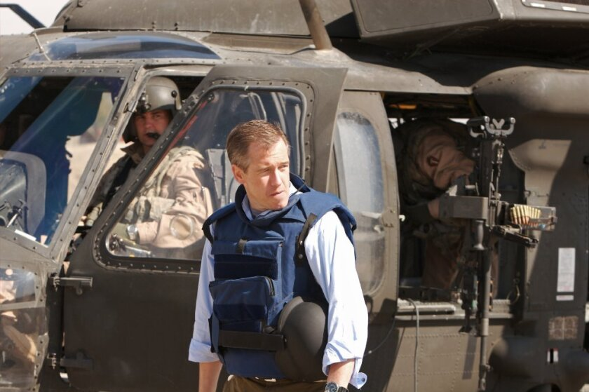 NBC News' Brian Williams is shown in Baghdad in 2007. He got the facts wrong about his flight into the Iraq war zone on an earlier trip, in 2003. An early dramatization morphed into an outright fabrication: Williams' claim that his helicopter was hit by a rocket-propelled grenade.