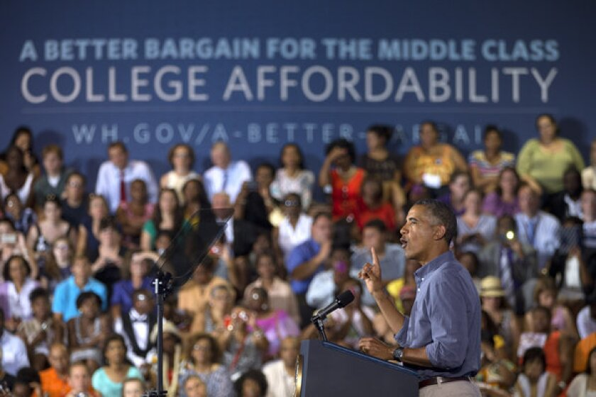 President Obama speaks at Henninger High School in Syracuse, N.Y., on the first day of a two-day bus tour where he is speaking about college financial aid.