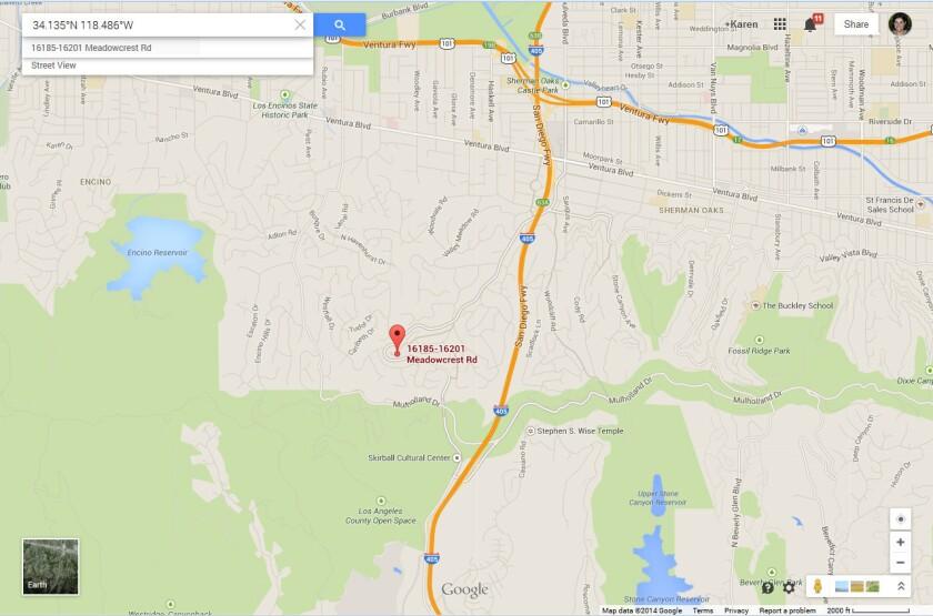 Google Maps translates the latitude and longitude coordinates of Monday's magnitude 4.4 earthquake to a location in Sherman Oaks.