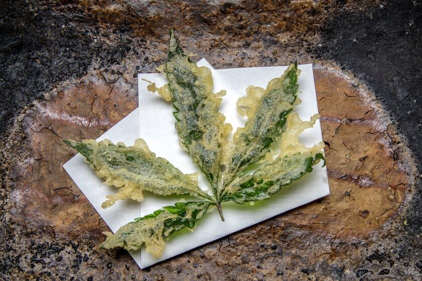 Hemp leaf tempura at Shibumi.