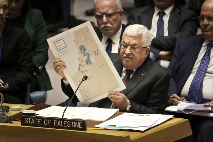 FILE - In this Feb. 11, 2020 file photo, Palestinian President Mahmoud Abbas speaks during a Security Council meeting at United Nations headquarters. Abbas has announced that the first presidential and parliamentary elections since 2006 will be held later in 2021. The voting is seen as a key step in mending a rift between Abbas' Fatah party that rules the West Bank and the Islamic militant group Hamas that controls the Gaza Strip. ( (AP Photo/Seth Wenig, File)