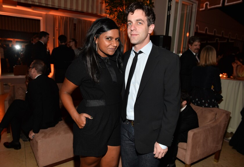 Mindy Kaling and B.J. Novak attend the Weinstein Co./Netflix SAG Awards after-party in West Hollywood on Jan. 18.