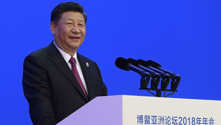 Chinese President Xi Jinping delivers his opening speech at the Boao Forum for Asia Annual Conference in Boao in south China's Hainan province on April 10, 2018.