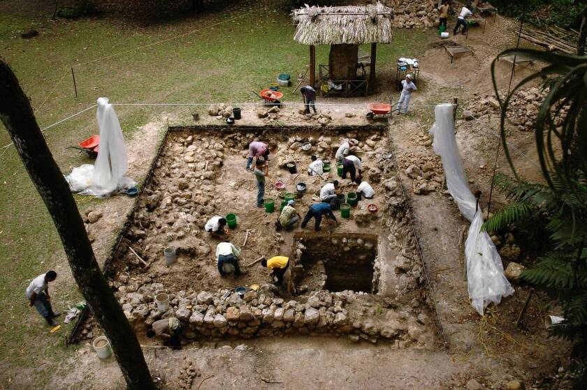 An excavation at Ceibal in Guatemala.
