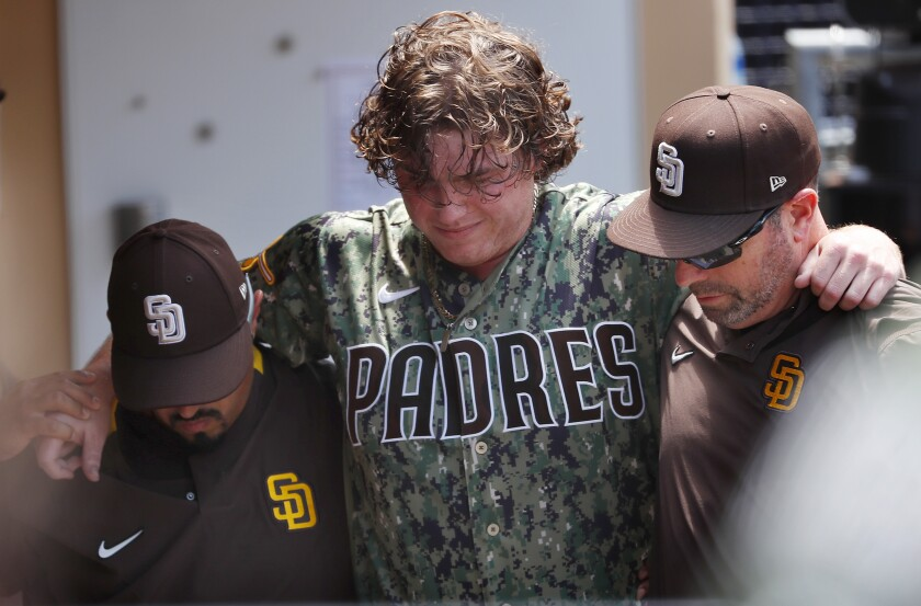 Padres pitcher Ryan Weathers was injured after a collision against the Rockies on July 11.