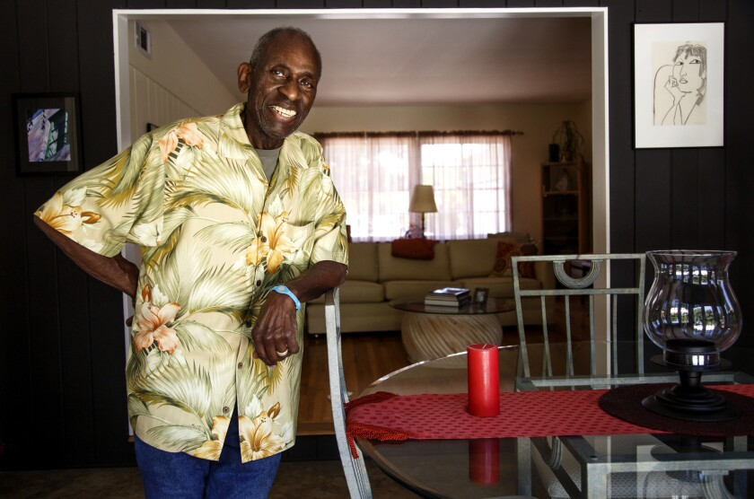 Longtime Dodgers press-box dining room chef Dave Pearson in his Van Nuys home.