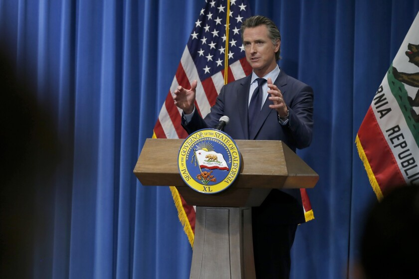 Gov. Gavin Newsom discusses his state budget proposal May 14.