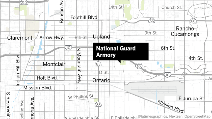 Riot gear was stolen from the National Guard Armory in Ontario, police said Tuesday.