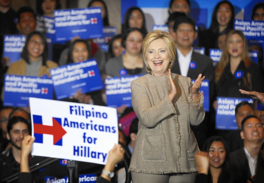 Hillary Clinton campaigns for the presidency in the San Gabriel Valley in 2016.