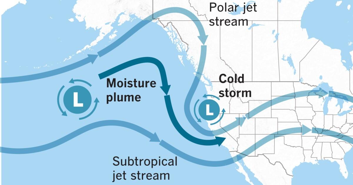 Ένα κρύο Ειρηνικού θύελλα θα φέρει τη βροχή και το χιόνι στο βουνό στη Νότια Καλιφόρνια, την κυριακή και τη δευτέρα