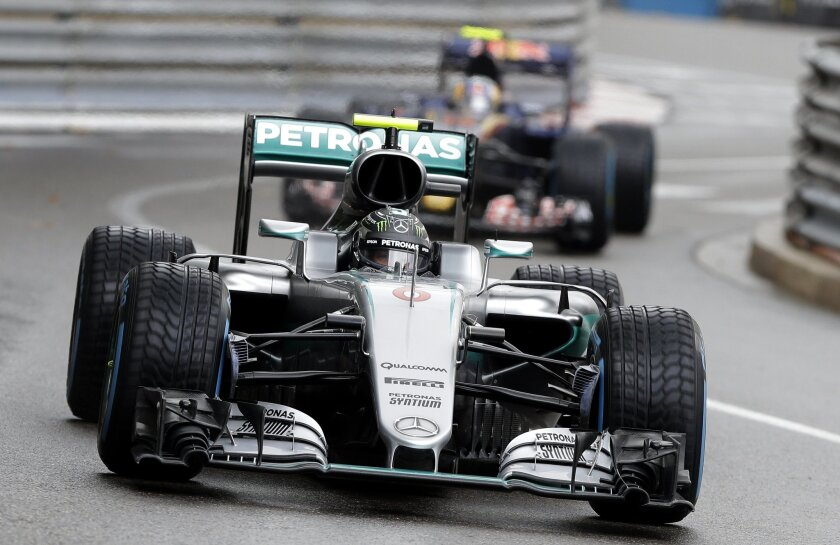 Mercedes driver Nico Rosberg of Germany steers his car during the Formula One Grand Prix at the Monaco racetrack in Monaco, Sunday, May 29, 2016. (AP Photo/Claude Paris)