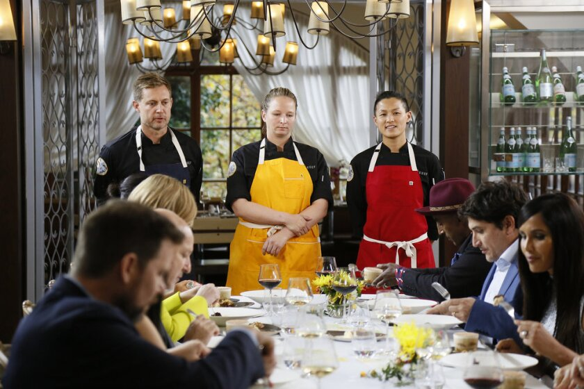 """Bryan Voltaggio, from left, Stephanie Cmar and Melissa King in the """"Top Chef: All-Stars L.A."""" finale."""