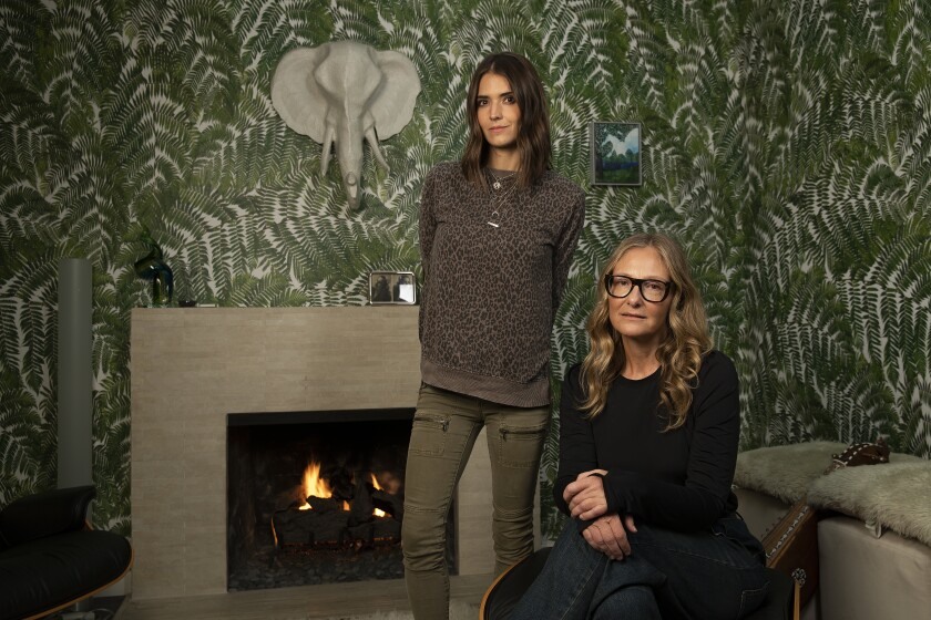 Baughn, left, and Orner at the filmmaker's home, where she shot a number of interviews for her new documentary.