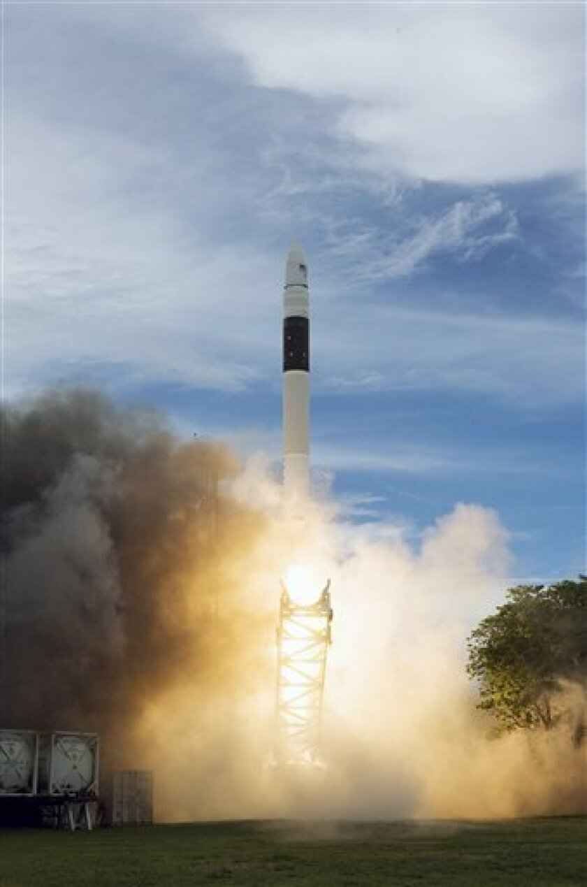 This undated handout photo provided by SpaceX shows the liftoff of the Falcon 1. In its new budget to be released Monday, Feb. 1, 2010, the Obama administration proposes spending billions of dollars to encourage private companies to build, launch and operate spacecraft for NASA and others. NASA already started an early version of this last year with $50 million in stimulus money. (AP Photo/SpaceX)