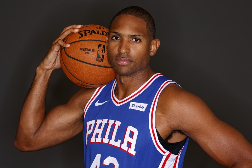 Al Horford poses for a photograph during the 76ers' media day.