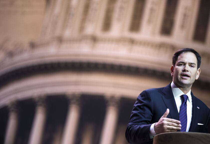 Sen. Marco Rubio (R-Fla.), in a file photo, speaks at the American Conservative Union Conference last week.