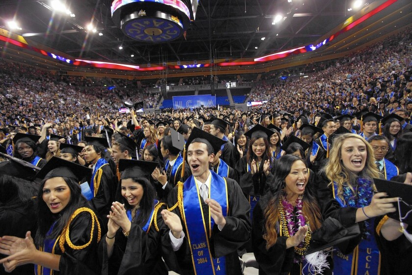 UCLA students cheer during commencement ceremonies at Pauley Pavilion in June. Nationally, only 19% of full-time students earn a bachelor's degree in four years at most public universities and only 36% at highly rated flagship research institutions, according to a recent report.