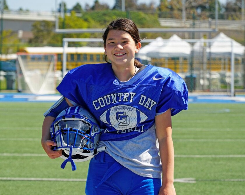 Freshman Maya Couey has completed her first season as a football player for La Jolla Country Day School.
