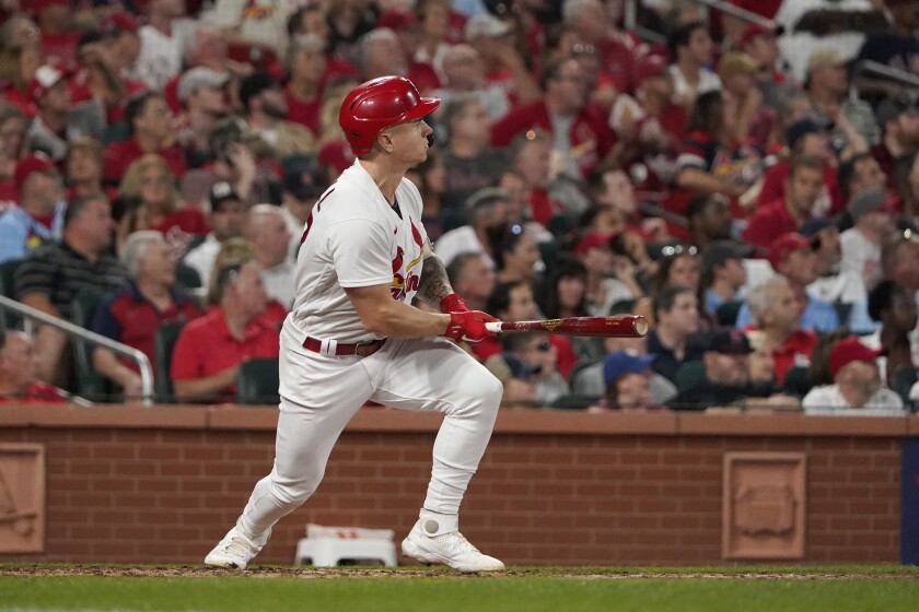 St. Louis Cardinals' Tyler O'Neill doubles against the Milwaukee Brewers .