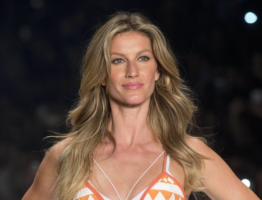FILE - In this April 15, 2015 file photo, Brazilian supermodel Gisele Bundchen wears a creation from the Colcci Summer collection at Sao Paulo Fashion Week in Sao Paulo, Brazil. The United Nations said Wednesday, May 25, 2016, that Bundchen has been named a goodwill ambassador as part of an unprece
