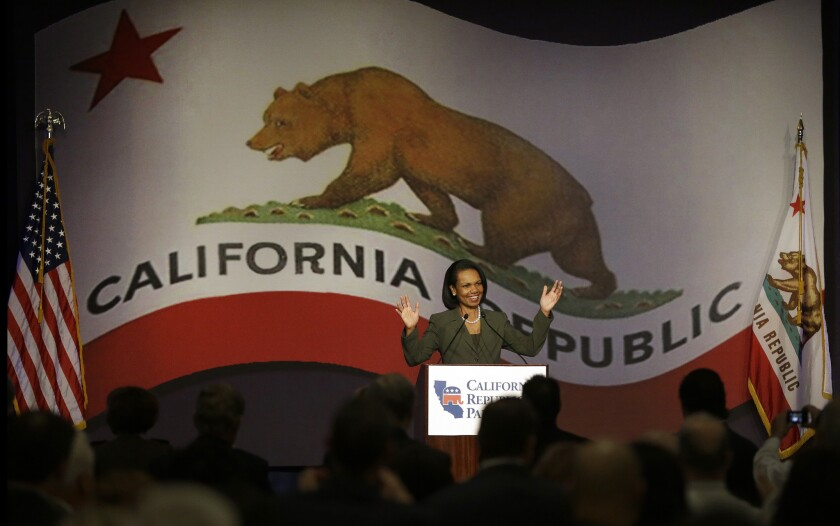 Former Secretary of State Condoleezza Rice speaks at the California Republican Party's 2014 spring Convention in March.