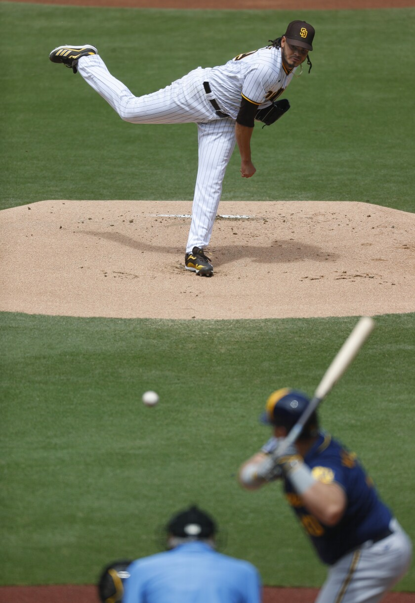 Padres pitcher Dinelson Lamet strikes out Milwaukee Brewers' Daniel Vogelbach