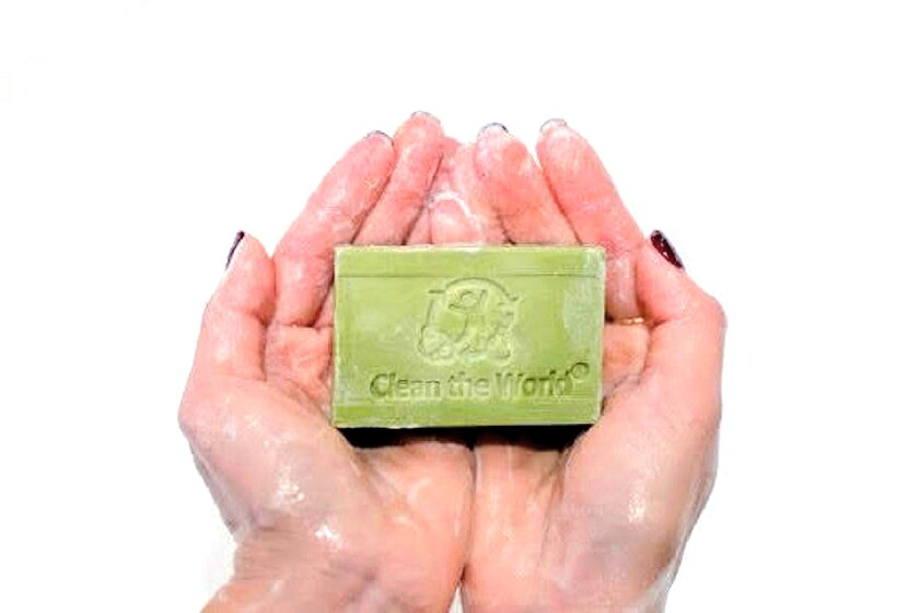 A bar of Clean the World's recycled soap. The charitable organization distributes its soap to countries across the globe.
