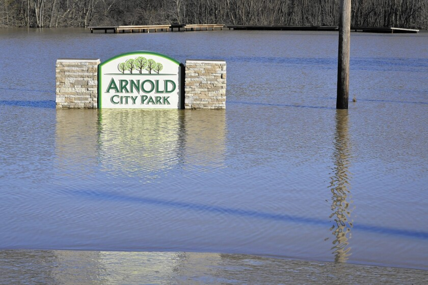 Arnold City Park is flooded by the Meramec River on Jan. 2 in Arnold, Mo.