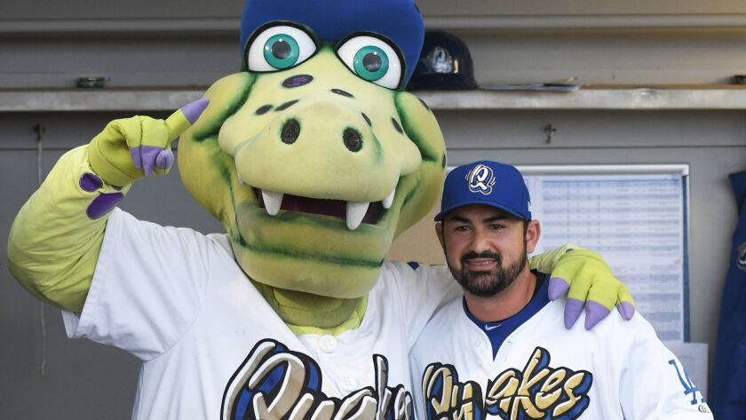 Former Dodger Adrian Gonzalez rehabbed with Rancho Cucamonga last season and met their mascot, Tremor.