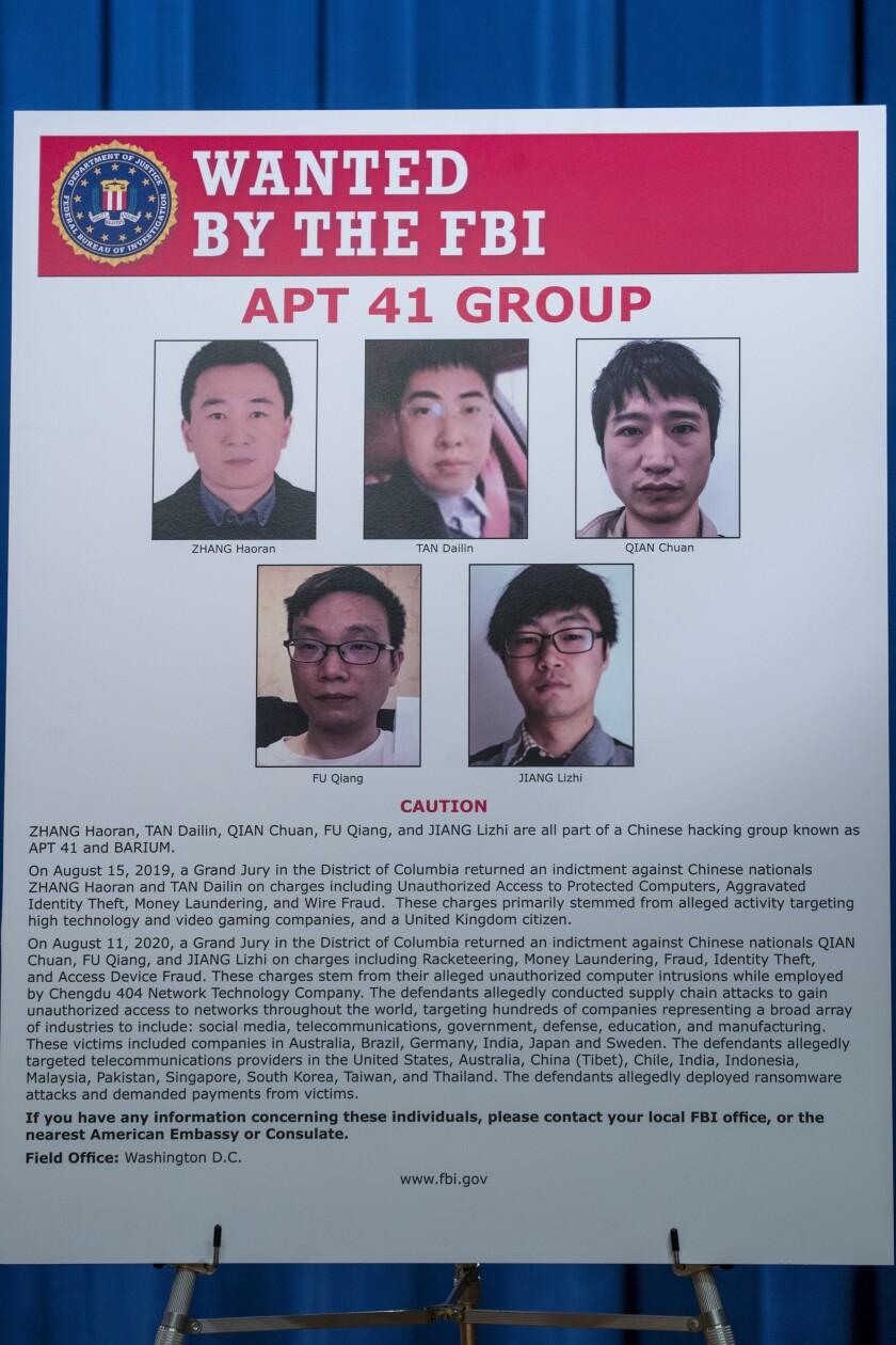EEUU acusa a ciudadanos chinos de campaña global de hackeo