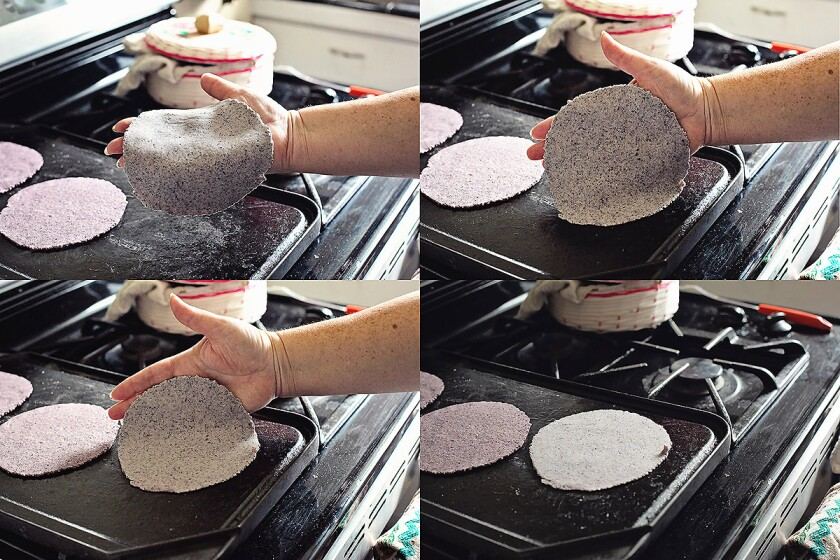 Never flip a tortilla onto the hot griddle. Gently lay it down, moving your hand away from you in a slow but fluid motion.