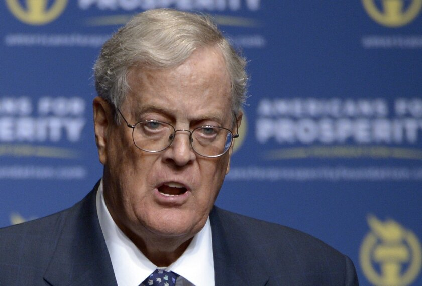 In this Aug. 30, 2013, file photo, Americans for Prosperity Foundation Chairman David Koch  speaks in Orlando, Fla.