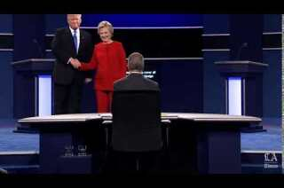 Hillary Clinton and Donald Trump shake hands to begin the first Presidential Debate