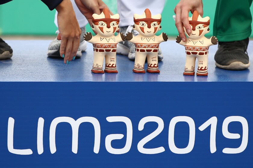 LIMA, PERU - JULY 28: Details of Lima 2019 mascot Milco at women's circuit mountain cycling podium at Morro Solar on Day 2 of Lima 2019 Pan American Games on July 28, 2019 in Lima, Peru. (Photo by Ezra Shaw/Getty Images) ** OUTS - ELSENT, FPG, CM - OUTS * NM, PH, VA if sourced by CT, LA or MoD **