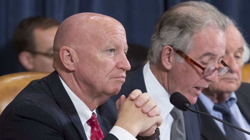 Ways and Means Committee ranking member Rep. Richard Neal, D-Mass. (right), laces into the GOP tax plan during a mark-up session Monday as Chairman Kevin Brady, R-Tex., listens.