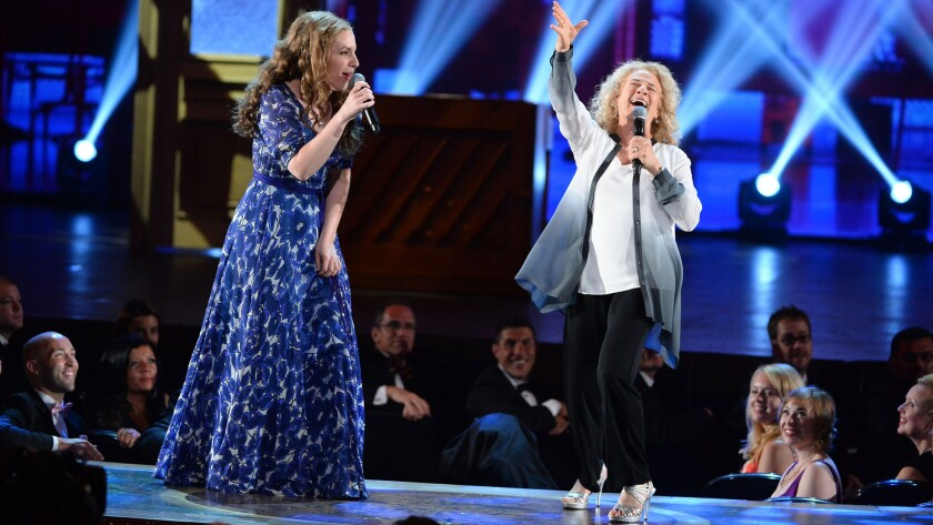 Jessie Mueller performs with Carole King during the Tony Awards in 2014 at Radio City Music Hall in New York.