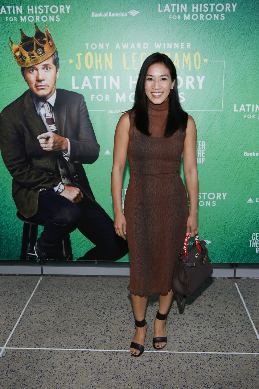 """Michelle Kwan at opening night of """"Latin History for Morons"""" at Ahmanson Theatre in Los Angeles."""