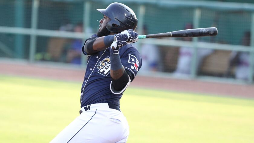 Padres prospect Franmil Reyes with Double-A San Antonio.