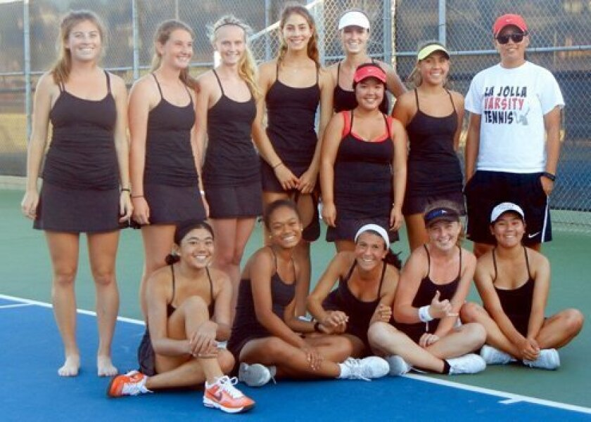La Jolla High School Girls Varsity Tennis: Front: Chloe Kuo, Whitney Francis, Leah Stern, Creekstar Allan and Emily Kuo. Back: Taylor Mohrhardt, Colleen Mellinger, Kaitlin Wheeler, Kathleen Steel, Sydney Moses, Kylee Hum, Audrey Oates and Lisa Shih. Courtesy Photo