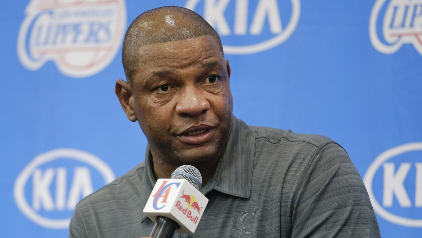 Clippers Coach Doc Rivers speaks during the team's media day in Playa Vista on Monday.