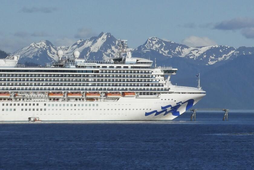 The Grand Princess cruise ship in Gastineau Channel in Juneau, Alaska.