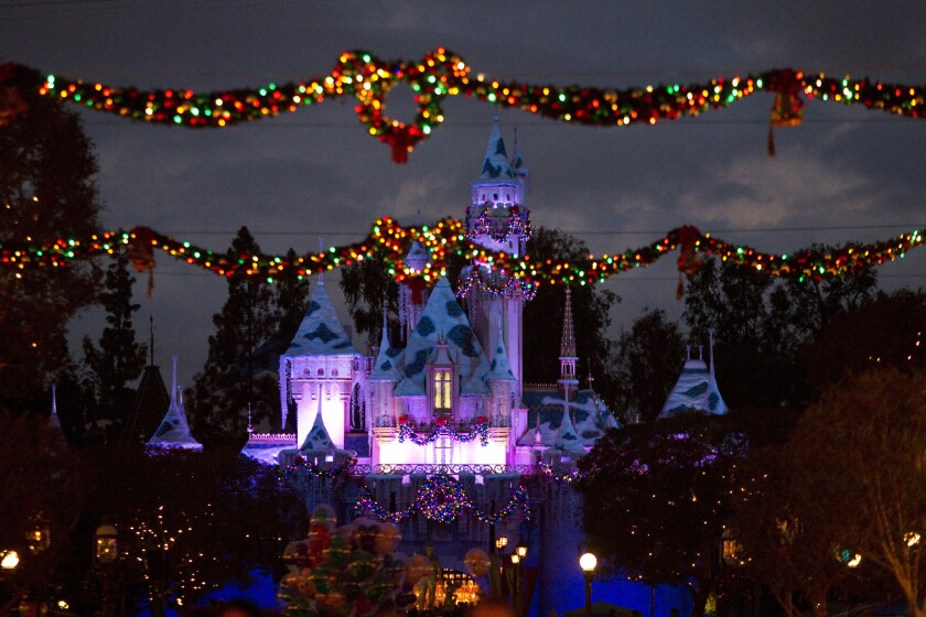 Disneyland, seen last year, had to turn away visitors for several hours on Christmas Day because of large crowds.