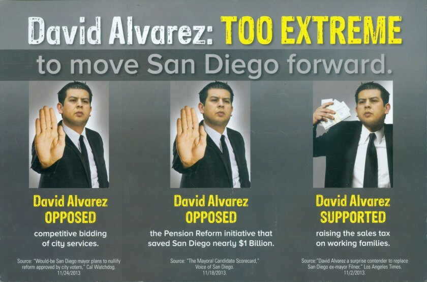 Mail produced by the Lincoln Club of San Diego County attacking mayoral candidate David Alvarez.