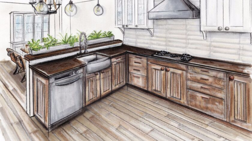 A kitchen design plan by Leonardo Herruzo, a graduate of the Mesa College program.