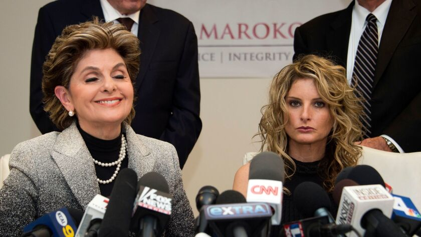 Attorney Gloria Allred, left, accompanies her client Summer Zervos at a news conference announcing Zervos' lawsuit against President-elect Donald Trump.