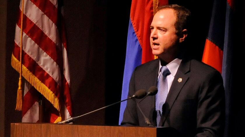 Congressman Adam Schiff speaks during the Armenian Genocide Centennial Commemorative Event at the Al