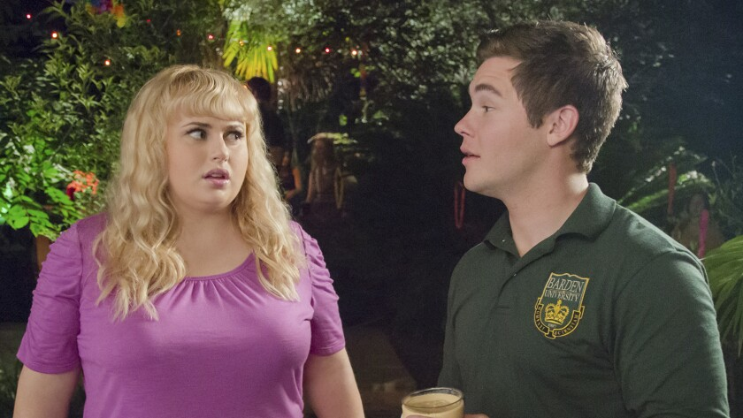 """Rebel Wilson and Adam Devine in """"Pitch Perfect 2"""" on HBO."""