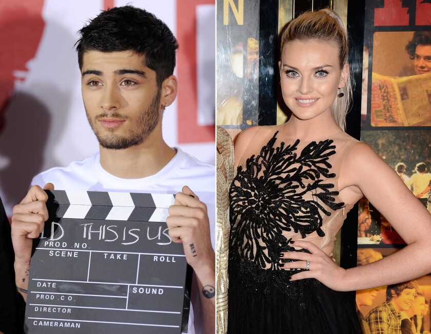 One Direction member Zayn Malik, left, is engaged to singer Perrie Edwards, right.