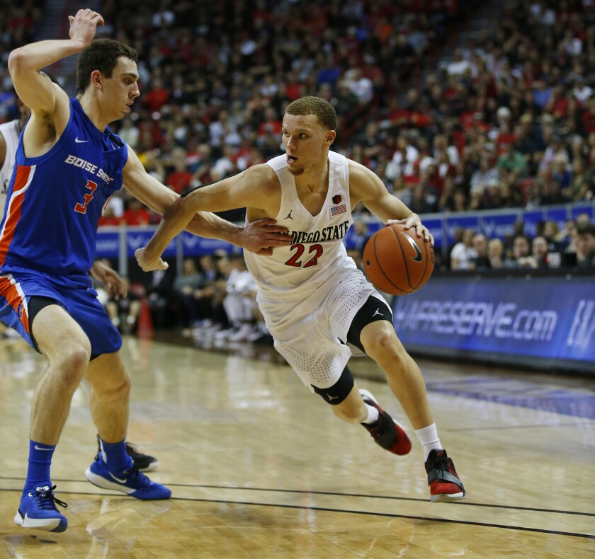 San Diego State's junior point guard, Malachi Flynn played very well to help lead his team to a comeback win over Boise State.  (Photo: K.C. Alfred/The San Diego Union-Tribune)